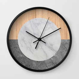 Abstract - Marble and Wood Wall Clock