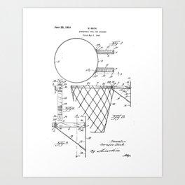 Basketball Goal and Bracket Vintage Patent Hand Drawing Art Print