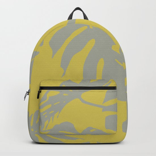 Palm Leaves Retro Gray on Mod Yellow Backpack