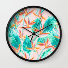 Birds of Paradise Blush Wall Clock