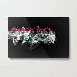 Iraq Smoke Flag on Black Background, Iraq flag Metal Print