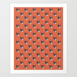 Boston Terrier Pattern in Orange Art Print