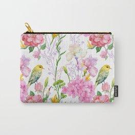 Pink Irises, Hydrangeas, Greenery, Yellow Birds Carry-All Pouch
