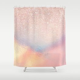 Rose Gold Glitter Iridescent Holographic Gradient Shower Curtain
