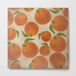 Vintage Orange Pattern in Watercolor Metal Print