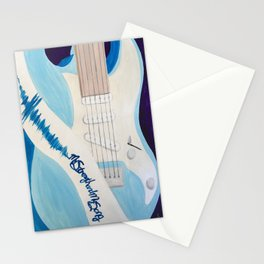 Blue Guitar and Strap Stationery Cards