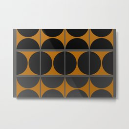 Black and Gray Gradient with Gold Squares and Half Circles Digital Illustration - Artwork Metal Print
