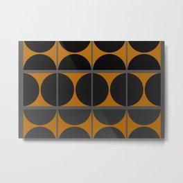 Black and Gray Gradient with Gold Squares and Half Circles Digital Illustration - Artwork Metal Print