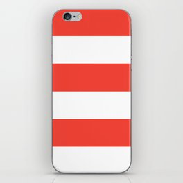 Even Horizontal Stripes, Red and White, XL iPhone Skin