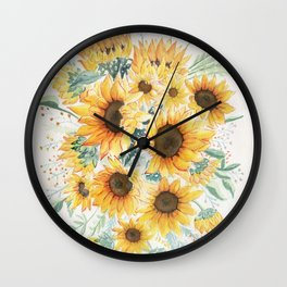 Loose Watercolor Sunflowers Wall Clock