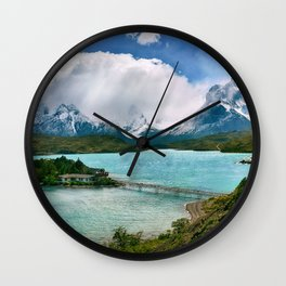 Magestic Landscape #photography #society6 #ocean#mountians Wall Clock