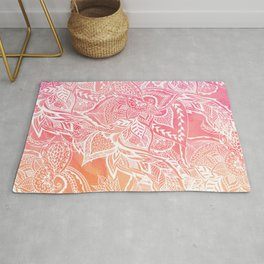 Modern pink coral ombre sunset watercolor floral white boho hand drawn pattern Rug