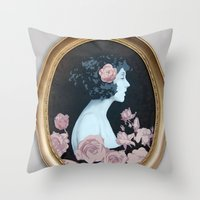 helen Throw Pillows featuring Helen by Mike Ferrari