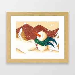 Snow by the Mountains Framed Art Print