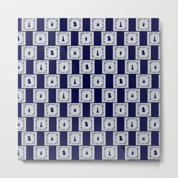 Collage Delft blue tiles Metal Print