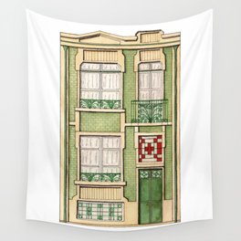 vintage town house Wall Tapestry