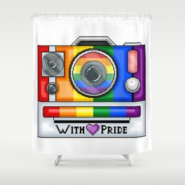 Gay Pride Pixel Camera Shower Curtain