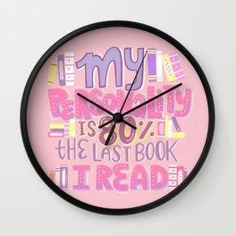 Book Nerd Personality Retro Pink Wall Clock