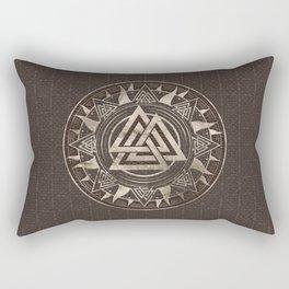 Valknut Symbol  - Brown Leather and gold Rectangular Pillow