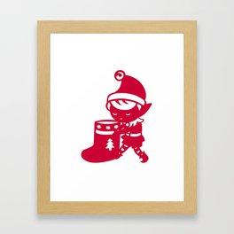 Christmas Elf with a sock Framed Art Print