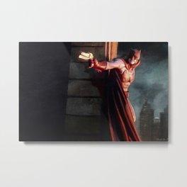 The Caped Crusader Swings Through Gotham Metal Print