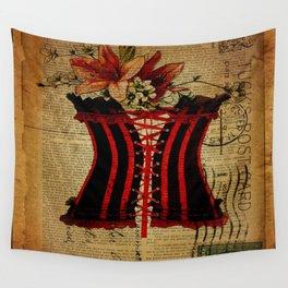elegant girly newspaper print sexy black red corset vintage paris eiffel tower art Wall Tapestry