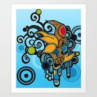 koi fish Art Prints featuring Koi Fish by Diana Dypvik