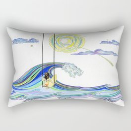 SurfGirl Swinging Over Waves  Rectangular Pillow