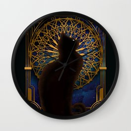 Celestial Sable - Black Cat And Night Magic Mandala Wall Clock