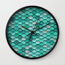 Aqua & Mint Mermaid Glitter Scales - Luxury Mermaid Scales Wall Clock