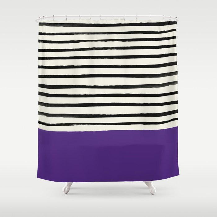 Purple Grape X Stripes Shower Curtain