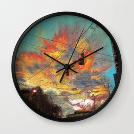 Explosive Sunset Wall Clock