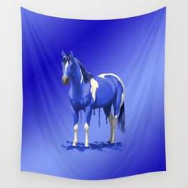 Royal Blue Pinto Dripping Wet Paint Horse Wall Tapestry