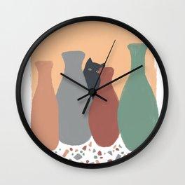 Hidden Cat 5 plant pot Wall Clock
