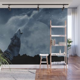 Wolf howling at full moon Wall Mural