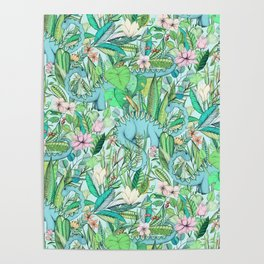 Improbable Botanical with Dinosaurs - soft pastels Poster