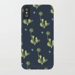 Spider Daisies (green + navy) iPhone Case