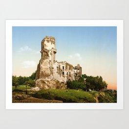 Ruins of the castle of Tournoël around 1900 Art Print