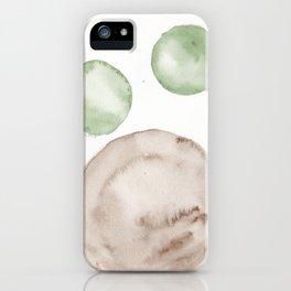 14|181104 Australian Leaf Green & Brown Earth Orbs | Watercolour Circle Abstract Geometrical iPhone Case