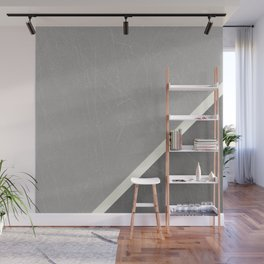 Grey Geometric Split by Diagonal White Line Wall Mural