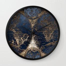 World Map Deep Blue and Gold Wall Clock