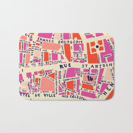 paris map pink Bath Mat