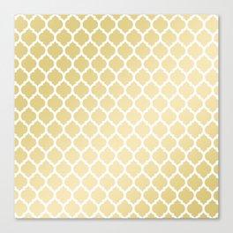 Elegant faux gold white moroccan quatrefoil pattern Canvas Print