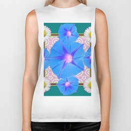 Blue Morning Glories & Shasta Daisies Teal Art Biker Tank