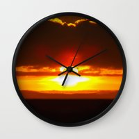 sunset Wall Clocks featuring Sunset by Aaron Carberry