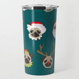 Christmas Pug Pattern Travel Mug