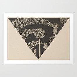 Art Nouveau Dandelion Seeds Art Print