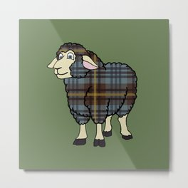 Faded Johnston Tartan Sheep Metal Print