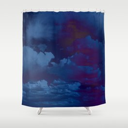 Clouds in a Stormy Blue Midnight Sky Shower Curtain