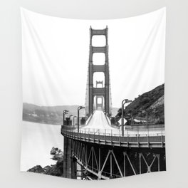 Golden Gate Bridge Black and White Wall Tapestry